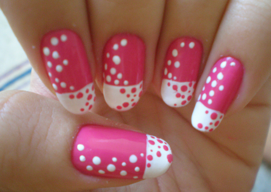 25 simple nail art designs for beginners lifestylica 2 pretty pink white polka dots design prinsesfo Images
