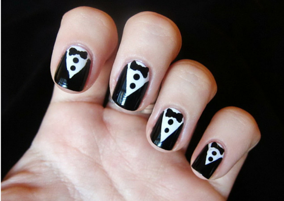 25 simple nail art designs for beginners lifestylica tuxedo nail art design prinsesfo Images
