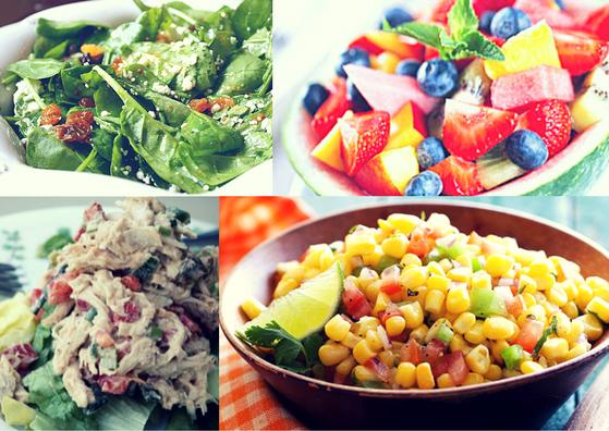 spinach-fruit-chicken-corn-salads